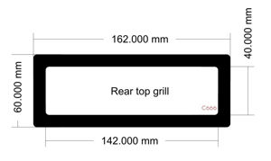 Picture of C666 - 162mm x 60mm - LD PC-V8  Rear Top Grill
