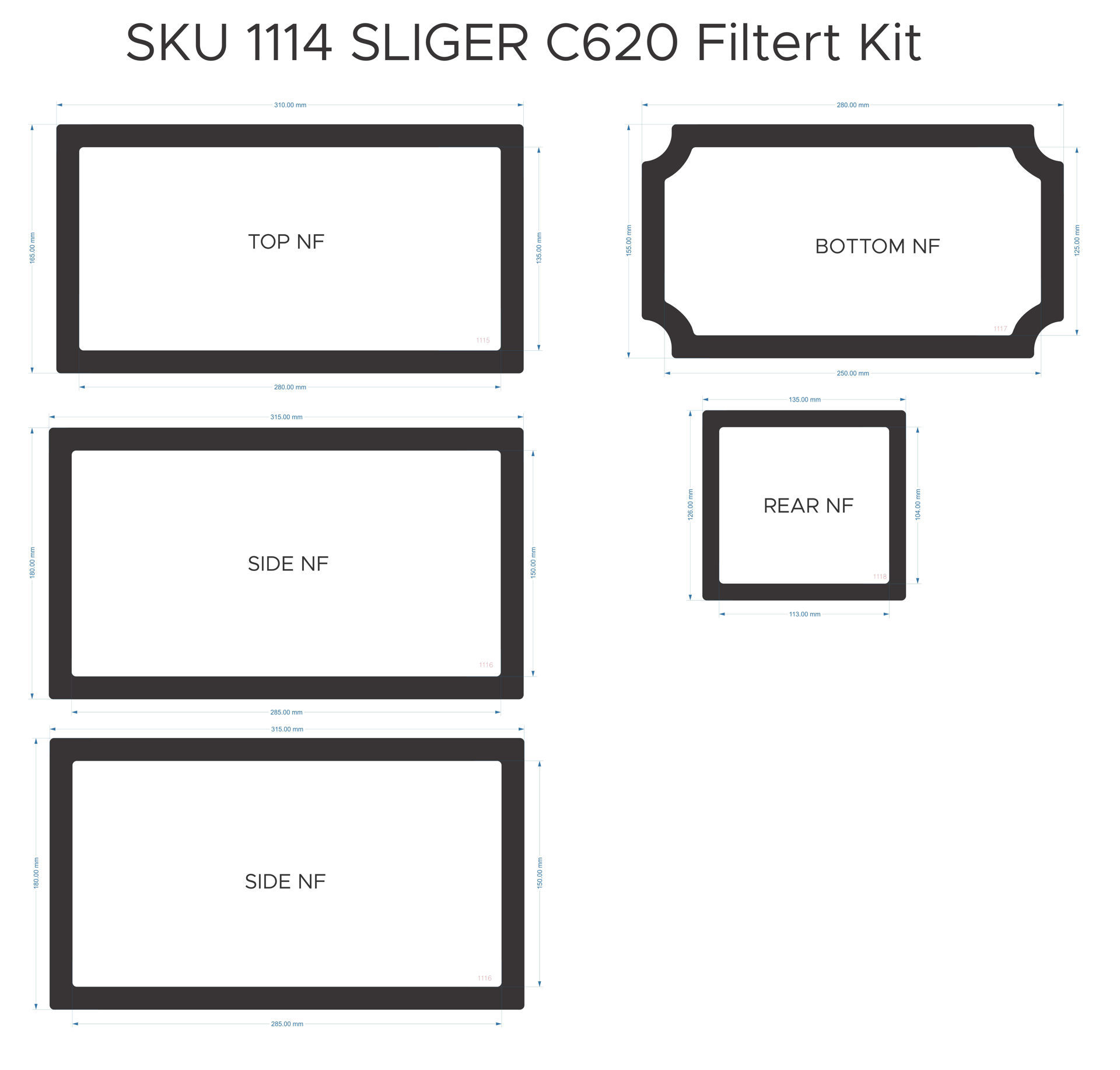Picture of Sliger S620 Dust Filter Kit without handle
